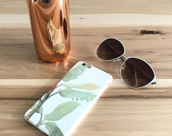 iPhone 8 Plus Case Tropical Leaf, Banana Leaf Resort Smartphone Cover For Minimalist Case Fits iPhone