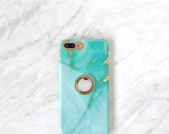 Ring Grip Phone Holder - Aqua Marble Case Set, iPhone and Samsung Galaxy Finger Loop Ring Stand