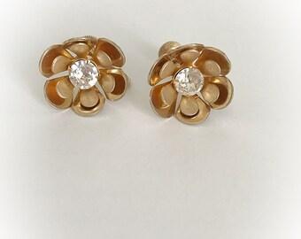 Vintage Gold Tone Metal Flower Earrings with Rhinestone Center Screw Backs