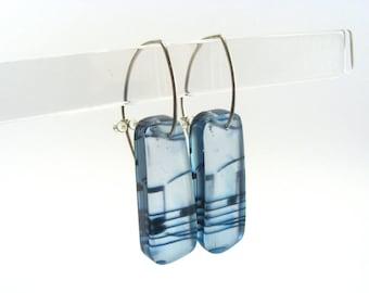 Music note earrings - Blue Drop Earrings - Long Drops - Hook Earrings - Musical jewellery - Perspex Earrings - sheet music drops