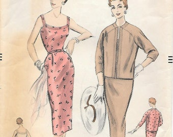 Vogue 8324 1950s Sundress with Fitted Skirt Side Pockets and Jacket Vintage Sewing Pattern Bust 32 Wiggle Dress