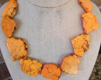 Exotic Freeform Slab Nuggets Orange Turquoise Orange Brazilian Topaz Antiqued Goldtone Clasp Necklace
