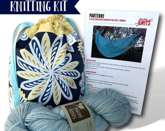 "Pretty Maids - A ""Just Add Needles"" Knitting Kit- Limited Edition Project Bag, Yarn & Shawl Pattern"
