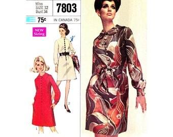 Vintage 60s Dress Pattern Simplicity 7803 Peter Pan or Mandarin Collar Dress Long Sleeves Womens Bust 34 Sewing Pattern
