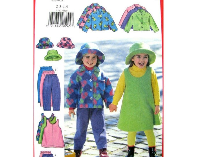 Girls Fleece Jacket Jumper Skirt Pants Hat Butterick 5717 Toddler Sewing Pattern Size 2 3 4 5
