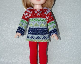 """Top and Pants for 14"""" Wellie Wishers or Melissa & Doug Doll Clothes fleece Stripe Sweater Knit top Red Pants  tkct1173 READY TO SHIP"""