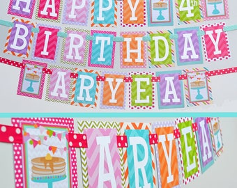 Pancakes and Pajamas Birthday Party Banner Fully Assembled | Pancake Breakfast Party | Sleepover Party | Sleepover Birthday | Rainbow