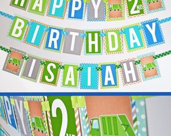 Garbage Truck Birthday Party Banner Fully Assembled | Garbage Birthday Party | Truck Birthday | Garbage Truck Party | Blue Green Truck