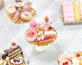 Display of Five Beautiful Pink French Pastries/Desserts - Miniature Food for Dollhouse 12th scale (1:12)