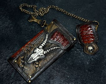 Mens wallet Biker gift Leather wallet men Animal skull Chain wallet Long wallet Skull wallet Biker wallet chain Biker wallet Goat skull