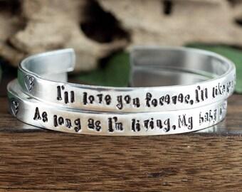 I'll Love you Forever, I'll Like you for Always Bracelet Set, As long as I'm Living my Baby You'll Be, Mother Daughter Bracelet Set