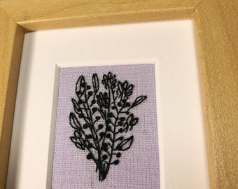 Handmade blackwork bouquet of flower embroidery - homeware