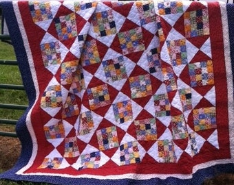Red, White and Blue Quilt, Patriotic Quilt, Queen Quilt