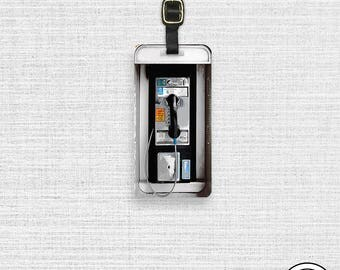 Luggage Tag Pay Phone Booth Luggage Tag  Personalized Metal Tag , Single Tag  information on Backs Choice of Straps