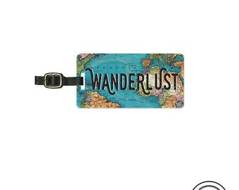 Luggage Tag Wanderlust Vintage Map Metal Luggage Tag  With Printed Custom Info On Back, Single Tag