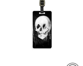 Luggage Tag Vanity Skull Illusion Vintage Metal Tag -  Custom Information Printed On Backs Single Tag