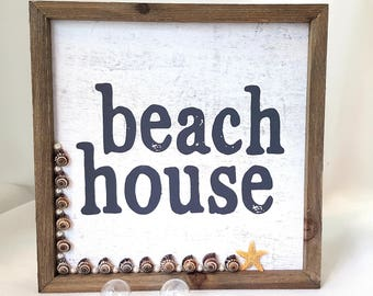 "Beach Decor Nautical Decor Starfish Sign - ""Beach House"" - with Real Seashells  Starfish - 10"" Square"