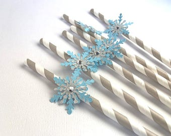 Snowflake Straws, Frozen Party Straws, Winter Wonderland, Straw Toppers, Winter Shower, Winter Onederland, Frozen Birthday Party, Set of 10