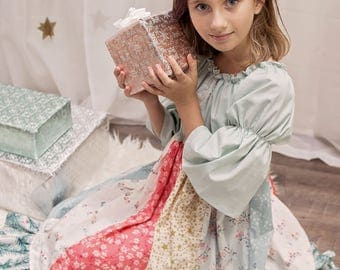 Girls Stripwork Christmas Dress - Girls Holiday Dress - Peasant Dress - Twirl Dress - Aqua Pink Dress - Lace Detail - 3/4 Sleeves - Modern