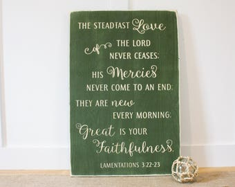 Great is Your Faithfulness Lamentations 3 Carved Wooden Sign - 16x24 Vintage Distressed Bible Verse Wood Sign