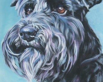 "SCHNAUZER dog ART portrait canvas PRINT of LAShepard painting 8x10"""