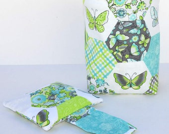 Thread Catcher Bag, Pin Cushion, Catch-all Scrap Caddy, Turquoise Blue and Green