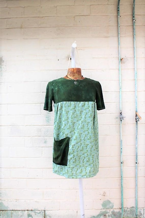 Small Green Dress/Upcycled Babydoll Dress/Green silk dress/Babydoll Dress/Upcycled Clothing/Mini Skirt Dress/summer garden dress/Summer