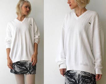 80s 90s LACOSTE slouch white sweater. oversized cotton sweater. v neck sweater - xl