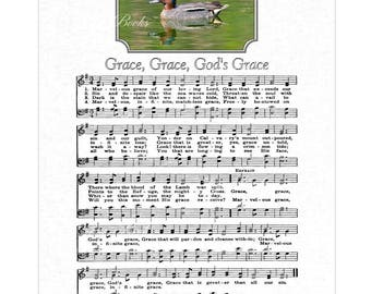 GRACE Grace God's Grace - Antique Hymn Wall Art Christian Home & Office Decor Sheet Music Wall Art Vintage Verses Art Duck Photograph Sale