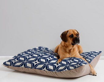 Dog Bed Pillow Midcentury Modern Geometric // Dog Bed // Pet Cushion // Retro Style // Pet Bedding // Starburst Navy // Blue // Dog Pillow