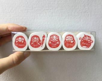 Daruma Stamp Set of 5 - Kodomo no Kao