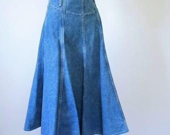 Denim Skirt Midi 1980's Blue Jean Skirt Vintage Faded Boho Hippie Long Flare Skirt Size 10 - 29 Inch Waist