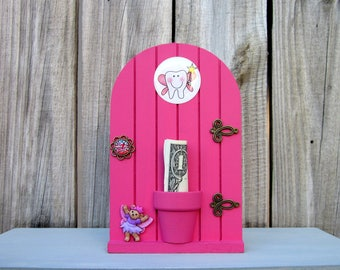 Fairy Door, Tooth Fairy Door, Hot Pink, Tooth Holder, Lost Tooth, Painted Wood, Tooth Fairy Money, Kids Gift