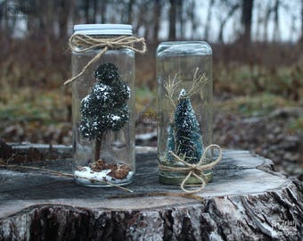 woodland decor, table centerpiece, upcycled jar globes, cake toppers, rustic wedding, faux terrarium, woodsy home, pine trees, snowglobes