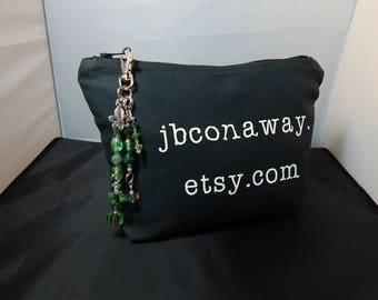 Purse Zipper Charm Beaded Jewelry Green Fleur de lei 153 Work Lanyard Handbag Identification tag key ring