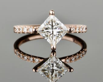 1.2 carat 6mm White Diamond Princess Delicate Engagement Ring - 14k Rose Gold or Yellow Gold or White Gold - Ethereal Deco Engagement Ring