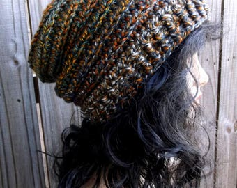Crochet Accordion Hat, Slouch Hat, Winter Hat, Crochet Hat, Womens Hat, Ribbed Beret, Unisex Winter Hat in Multi Golds and Greens