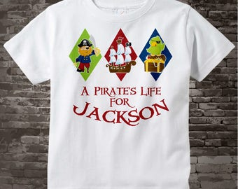 Pirate Shirt, Personalized Pirate Shirt, A Pirates Life Shirt or Onesie with Your Child's Name 01072011a