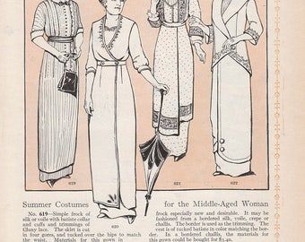 1913 Fashion Print: Summer Dresses for Middle-Aged Woman 4 Four Women