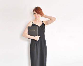 black ruffle maxi dress . geometric sweetheart bust . floor length 1970 style frock .medium