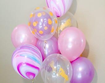Unicorn Balloon, Unicorn Latex Balloons, Purple Latex Mix, Unicorn Balloons, Unicorn Party, Pink and Purple Balloons,Purple Balloon Mix