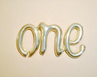 ONE Script Balloon, Cake Smash Photo, One Balloon, First Birthday Balloon, ONE Balloon, Number One Balloon, Cake Smash Highchair Banner