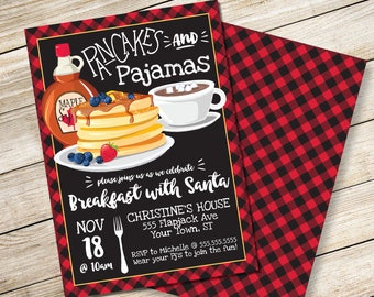 Pancakes & Pajamas Invitation - Breakfast with Santa, Lumberjack Breakfast, Pancake Party   DIY Editable Text INSTANT DOWNLOAD Printable