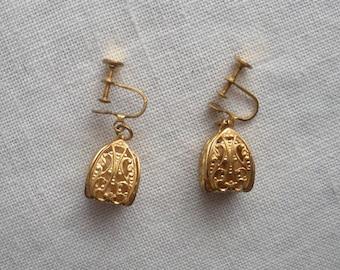 Vintage Gold Filigree Cage Screw Back Earrings