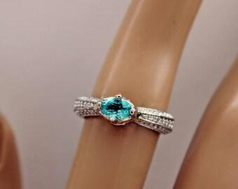 Paraiba Tourmaline, Certified, Ring, Natural Paraiba, Blue Tourmaline, Tourmaline and Diamond Ring, Engagement Ring, Certificate Incl