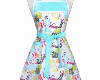 Stella 50s Style Retro Apron - Colorful Aqua Pink Modern Floral Womans Cute Vintage Kitchen Apron to Personalize or Monogram Embroidery (DP)
