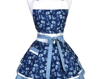 Womens Ruffled Retro Apron , Butterflies and Daises in French Blue Womans Flirty Pinup Vintage Kitchen Apron to Personalize or Monogram (DM)