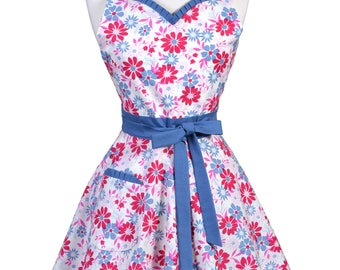 Sweetheart Womens Retro Apron in Denim Blue Pink Floral 50s Style Kitchen Apron with Personalized Monogram Option (DP)