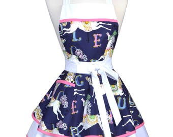Womens Ruffled Retro Apron in Navy White Horses on Carousel Cute Flirty Vintage Pinup Kitchen Apron to Personalize or Monogram (DP)