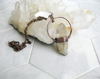 Rough stone Electroformed Copper Necklace Dream Quartz Pendant Boho necklace gypsy jewelry healing crystal copper jewelry natural stone